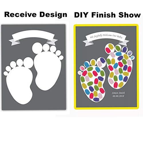 IKAEASD Benutzerdefinierte Namen Datum personalisierte Leinwand Malerei Fingerabdruck Gästebuch Junge Baby Shower gefallen Mädchen Geburtstag Partydekorationen Kinder