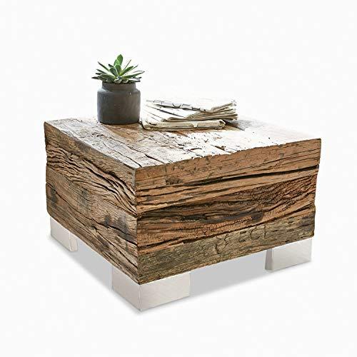 Loberon Couchtisch Gascogne, Wiederaufbereitetes Salbaumholz, Edelstahl, H/B/T 37/60 / 60 cm, braun