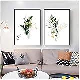 HYFBH Aquarell Pflanze Leinwand Poster Blatt Botanischer