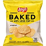 Includes 40 (.0875 ounces) bags of Lay's Oven Baked 65 percent Less Fat Original Potato Chips Crisp and delightful oven baked texture Perfect for snacking at school, work or on the go USDA Smart Snack Compliant. Trans fat is zero 140 calories per pac...