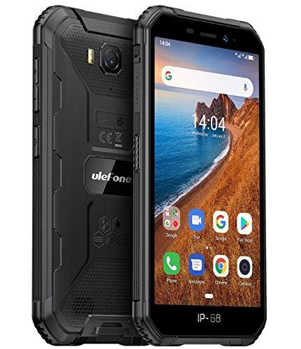 Ulefone ARMOR X6 Rugged Smartphone Economico, Telefono Antiurto IP68 Android 9.0, Dual SIM, Quad-core 2GB + 16GB, Fotocamera 8MP + 5MP, Batteria 4000mAh, 5'' Schermo HD, Sblocco Viso GPS Nero