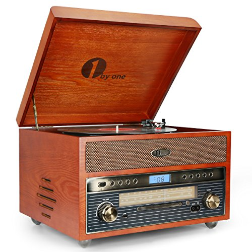 1byone Tourne-Disque en Bois Nostalgique Lecteur de Disque avecAM / FM , CD, Enregistrement MP3 sur USB, Aux Input pour Smartphone , Tablette et Sortie RCA Home et cinéma