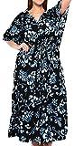 LA LEELA Mujeres caftán túnica Impreso Kimono Libre tamaño Largo Maxi Vestido de Fiesta para Loungewear Vacaciones Ropa de Dormir Playa Todos los días Cubrir Vestidos Halloween Negro_G885