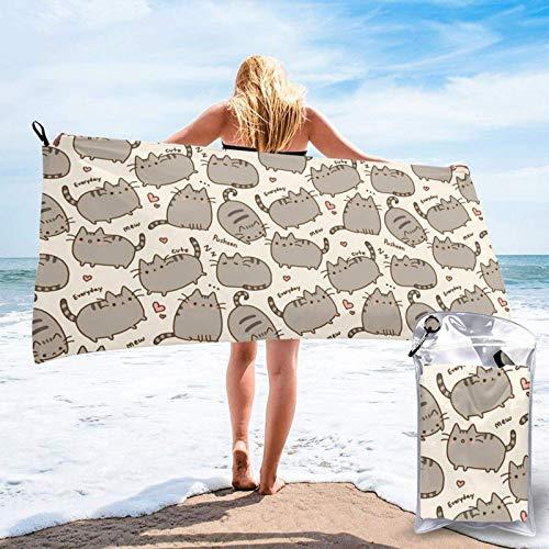 Unique Life Toalla de baño con patrón de gato, toalla de gimnasio, toalla de playa, microfibra suave de secado rápido, ligero