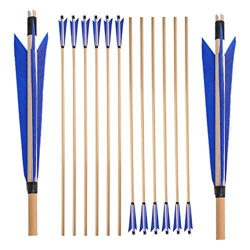 SHARROW 6/12 pcs Tiro con Arco Flechas y saetas, 31' Flecha de Madera Arcos y Flechas para Caza o práctica, Vistoso Plumas Naturales para Arco Compuesto Recurvo Longbow (Azul, 6 PCS)