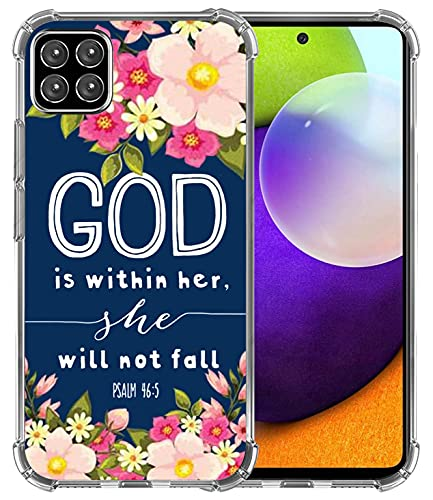A12 Case, Hungo Soft TPU Cover Heavy Duty Protection Wireless Charging Compatible with Samsung Galaxy A12 Christian Sayings God is Within Her She Will Not Fall Psalm Bible Verse Songs Rubber