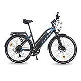 URBANBIKER VIENA Trekking E-Bike, 250W Motor, 840Wh Akku, E-Trekkingbike für Damen und Herren, 28 Zoll Blau