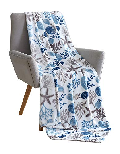 Plush Blanket with Starfish & Shells
