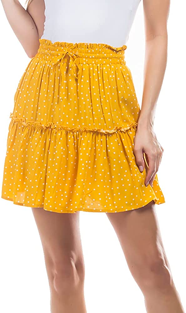 MIAMINE Women's Pleated Ruffle High Waist Drawstring Summer Two Pockets Mini Skater Skirt with Lining