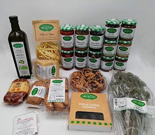 Confezione Alimentare Con Prodotti Tipici Calabresi Alimentari Valle Del Crati Conserve, Salsiccia DOP, Olio Evo Bio (Cartone completo)
