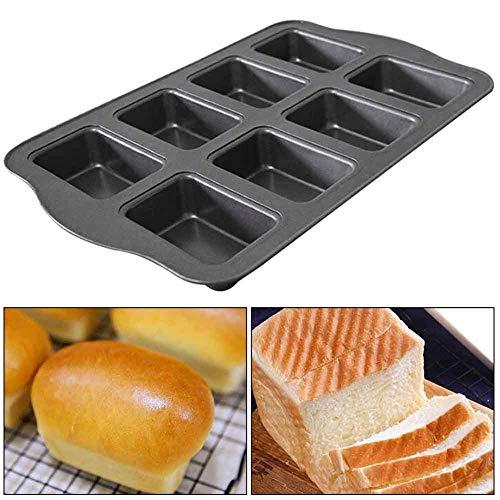 ZKDY Gâteau Pan 8 Trous Petit Déjeuner Mini Pain Toast Boîte Bricolage Fabrication De Pain Ustensiles De Cuisson Cuisine en Acier Au Carbone Non Adhésif Enduit Moule De Cuisson Accueil
