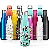 Proworks Personalisiert Edelstahl Trinkflasche | 24 Std. Kalt und 12 Std. Heiß - Vakuum Wasserflasche - Isolierflasche für Sport, Laufen, Fahrrad, Yoga, Wandern und Camping - 350ml - Grün - Panda