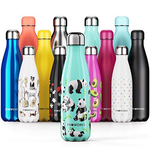 Proworks Botellas de Agua Deportiva de Acero Inoxidable | Cantimplora Termo con Doble Aislamiento para 12 Horas de Bebida Caliente y 24 Horas de Bebida Fría - Libre de BPA - 750ml - Verde - Panda