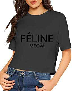 Women's Celine Paris Feline Meow Short Sleeves Lumbar Tshirts