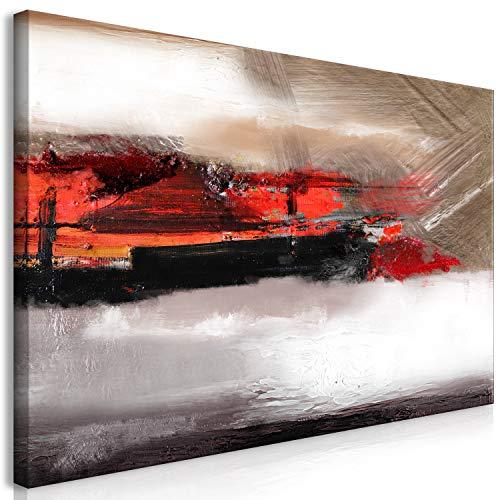 murando Cuadro Pintado a Mano Abstracto 120x60 cm 1 Parte Arte Moderno Cuadros en Lienzo Original Pintura Decoracion de Pared Diseno Único Hecho a Mano Beige Rojo Gris a-A-0413-b-a