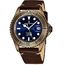 Revue Thommen Diver Mens Gun Metal Automatic Dive Watch with 42mm Blue Face, Luminous Hands, Magnified Date, Sapphire Crystal - Brown Leather Band Swiss Made and is Waterproof best for Diving Watch