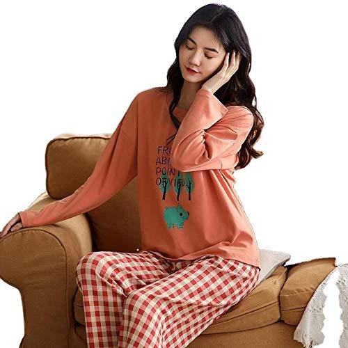 ZXXFR Damen Schlafanzug Zweiteilige Baumwoll-Pullover mit Rundhalsausschnitt und...