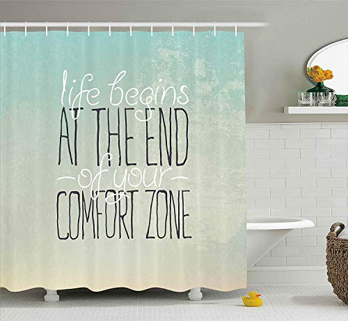 Presock Duschvorhänge, Lifestyle Decor Shower Curtain, Motivational Life Begins at The End of Your Comfort Zone Quote Concept Print, Fabric Bathroom Decor Set with Hooks, 60W X 72L Inches Long, Mint