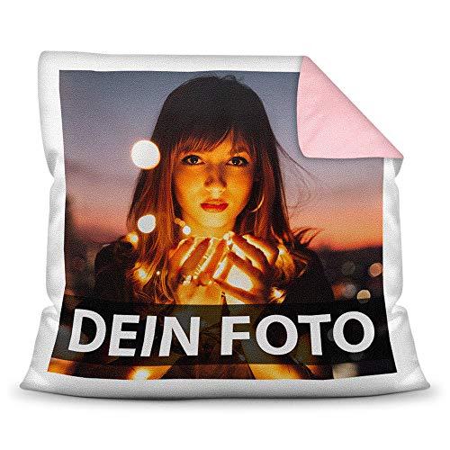 Print Royal Foto-Kissen Selbst gestalten (40 x 40 cm) - mit Foto individuell Bedruckt/Rückseite Rosa/Personalisierte Geschenk-Idee/Deko-Kissen/Kopf-Kissen inkl. Füllung