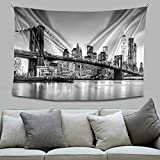 Tucocoo Brooklyn Bridge Tapestry New York City Prints on Tapestry Manhattan Skyline Pictures Cityscape Artwork Art Wall Tapestries Hanging for Living Room/Bedroom Home Modern Decor Custom Tapestry