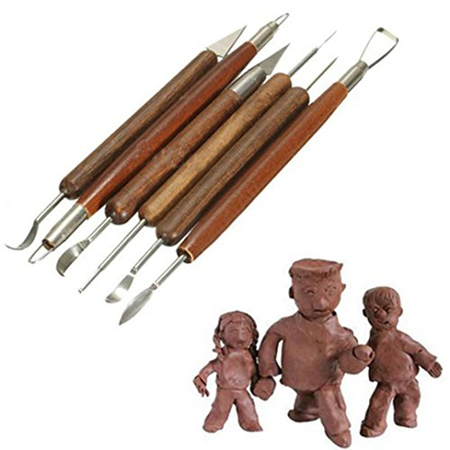 Iuhan DIY 6pcs Clay Sculpting Set Wax Carving Pottery Tools Shapers Polymer Modeling