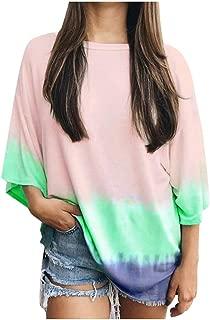 Gradient Tanks Top Women's Round Neck Printed Sleeveless T-Shirt Tunic Blouse Tops
