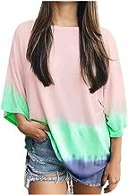 Respctful ♫♬ Women's Half Sleeve Colorblock Gradient Tops Casual Crew Neck Loose Blouse Tee