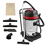 MAXBLAST Industrial Wet & Dry Vacuum Cleaner & Attachments, Powerful 3000W, 80 Litre, Stainess Steel
