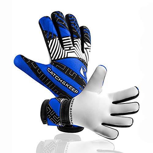 CATCH & KEEP® Kralle Junior Pro - Kinder Torwarthandschuhe - Premium Torhüterhandschuhe für Kinder - Tormannhandschuhe mit extra starkem Grip (Blau, 6)