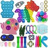 Limuchen Fidget Toys Anti estrés Set Step Strings Pop IT Relief Pack Regalo para Adultos Niños Figet Sensor Squishy Relieve Antistress, Tie Dye Push Pop Bubble Toy Fidget Toy