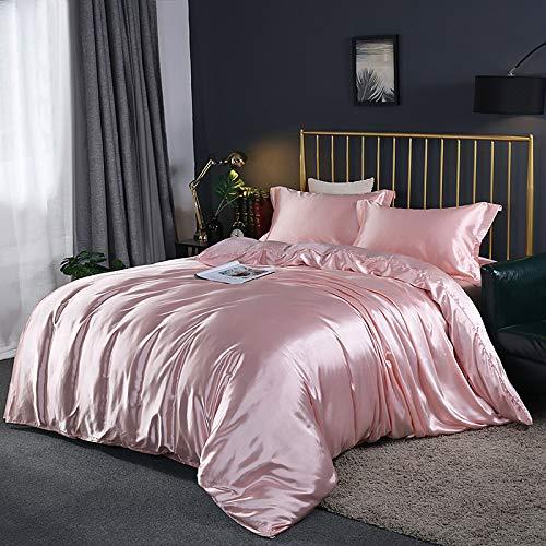 FJXJLKQS Doppelseitig Gewaschenes Bettzeug Aus Gewaschener Seide 4-teilig, Eisseide Seidenslip-kit, Geeignet Für Vier Jahreszeiten,Pink-Double200X230cm