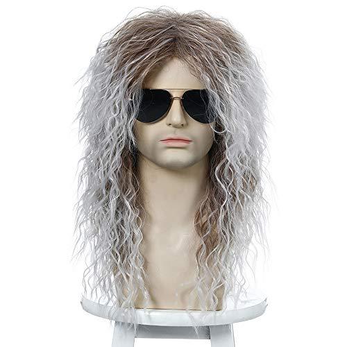 Peluca de Hombre Hombres Largas Pelucas sintéticas rizadas para Hombre Cosplay Peluca Mezclado Macho Rizado Rizado Resistente al Calor Vintage Rock Show Wig Actor Actual (Color