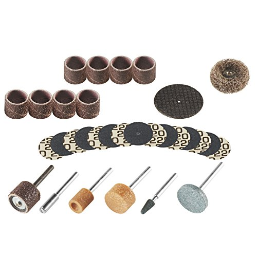 Dremel 686-01 31 Piece Sanding and Grinding Rotary Tool Accessory Kit- Includes Sanding Drums, Grinding Stones, Abrasive Buff, Cutting Discs, and a Storage Case