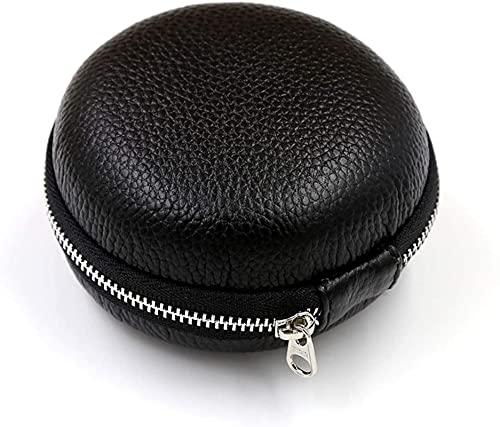 HKHJ Estuche de viaje portátil para un solo reloj, estuche de cuero genuino de piel de vaca con cremallera y organizador de reloj redondo interior de fieltro suave para reloj de pulsera, color negro
