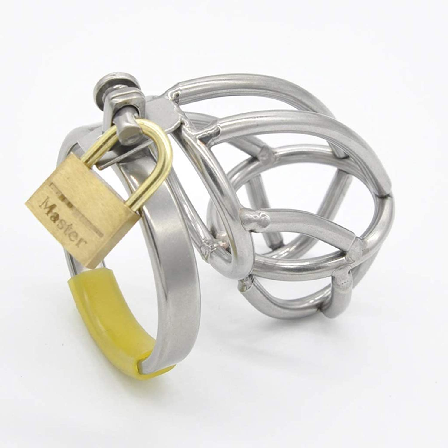 SLH Men's Stainless Steel Enamel Metal Chastity Device with Catheter Erectile Penis Lock Penis Lock Sēx Foreplay Flirting Māssage Stimulation Cage