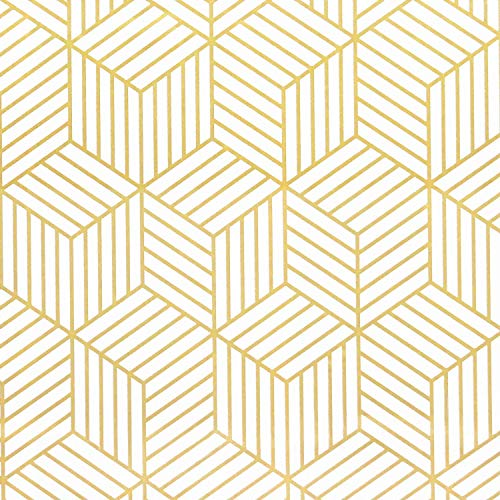 Papel pintado autoadhesivo con rayas geométricas del hexágono dorado, diseño de rayas doradas, para muebles, cocina, salón, vinilo, 45 cm x 10 cm