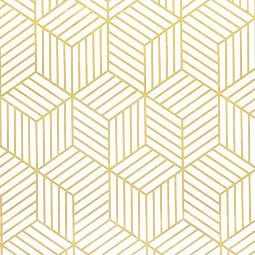Papel pintado autoadhesivo de rayas geométricas del hexágono dorado, para muebles, decoración de pared, color dorado, blanco, 45 x 500 cm