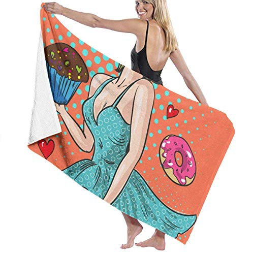xcvgcxcvasda Badetuch, Pin Up Happy Woman with Sweets for Spa Pool Bathroom Sand Cotton Blanket Towels Set