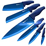 Wanbasion Azul Juego de Cuchillos de Cocina, Cuchillos Cocina profesional chef, set de Cuchillos de Cocina Acero inoxidable