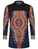 COOFANDY Men's African Dashiki Print Shirt Long Sleeve Button Down Shirt Bright Color Tribal Top Shirt Navy Blue