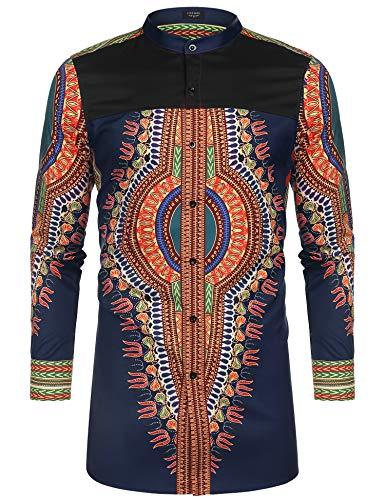 COOFANDY Men's African Dashiki Print Shirt Long Sleeve Button Down Shirt Bright Color Tribal Top Shirt Navy Blue