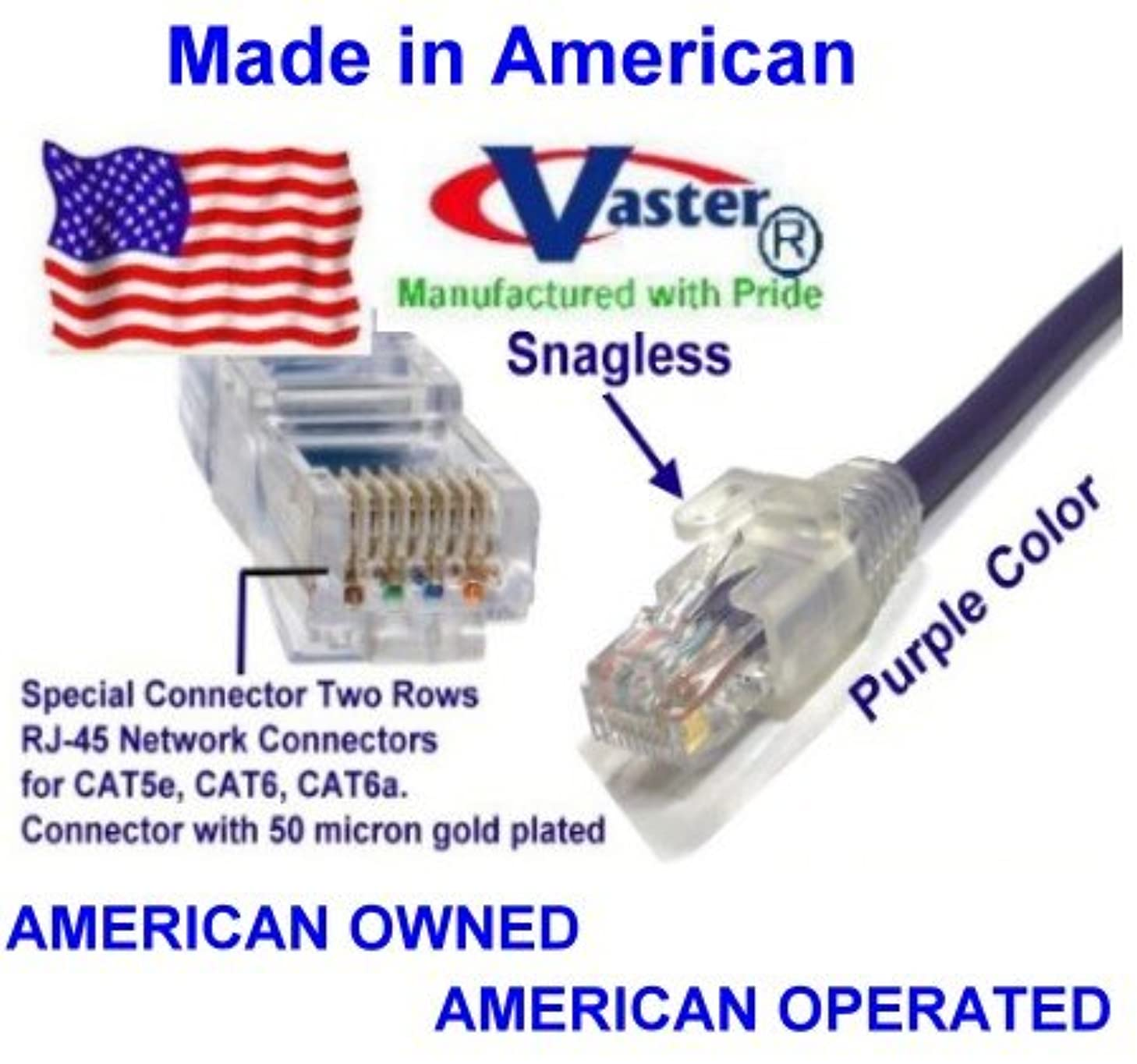 SuperEcable - USA-0675 - 11 Ft UTP Cat5e - Made in USA - PURPLE – UL 24Awg Pure Copper – Ethernet Network Patch Cable