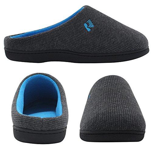 RockDove Women's Two-Tone Memory Foam Slipper, Size 9-10 US Women, Dark Gray/Blue