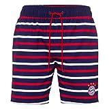 FC Bayern München Kinder Badeshorts, Badehose, Bathing Shorts, Swim Shorts gestreift - Plus Aufkleber Forever München (128)