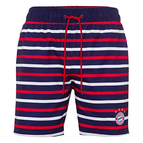 FC Bayern München Kinder Badeshorts, Badehose, Bathing Shorts, Swim Shorts gestreift - Plus Aufkleber Forever München (152)