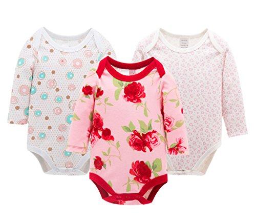 FEOYA Ensemble de 3PCS Combinaison Pyjama en Coton Bébé Fille Garçon Manche Longue Barboteuse Printemps Été Automne Rose Fleur 6-9mois