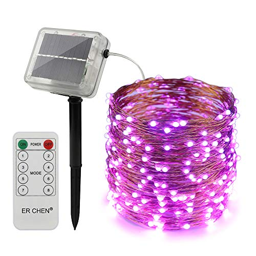 ErChen Solar Powered LED String Lights, 100 FT 300 Leds Copper Wire Waterproof with Remote Control 8 modes Decorative Fairy Lights for Outdoor Christmas Garden Patio yard (Purple)