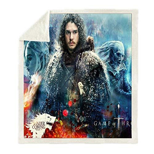 Mantas para Cama Jon Snow Juego De Tronos Impresión Manta De Tiro Sofá Espesar Edredón De Vellón Cálido Viaje Camping Sherpa Manta (B) 150 * 200cm