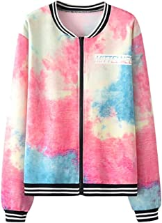 Women Gradient Printing Casual Baseball Bomber Jacket Long Sleeve Tie Dye Cool Sport Coat with Pockets