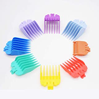 "Professional Hair Clipper Guards Guides,8 Colors Attachment Guide Combs set Compatible with all Whal Clippers Hair Clippers/Trimmers, 8 Sizes 1/8"" to 1"" Professional Coded Cutting Guides"